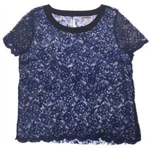 $5 SALE! Express Lace Over Floral Top Blue …